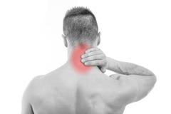 Uomo con dolore al collo Immagini Stock