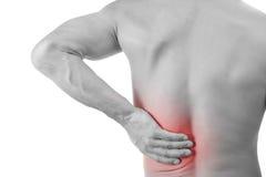 Uomo con dolore alla schiena Fotografia Stock