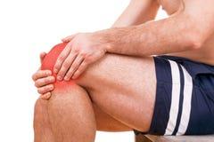 Uomo con dolore del ginocchio immagine stock libera da diritti