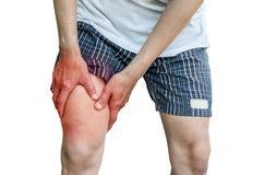Uomo con dolore del vitello della gamba Fotografia Stock