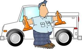 Uomo con due coni di sicurezza Fotografia Stock Libera da Diritti