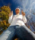 Uomo con due pollici in su Immagine Stock Libera da Diritti