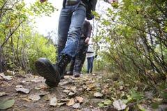Uomo con gli amici che camminano sulla traccia di escursione immagine stock libera da diritti