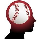 Uomo con gli sport di baseball sul cervello Fotografia Stock