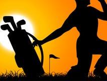Uomo con golfbag Fotografia Stock Libera da Diritti
