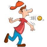 Uomo con grande giocar a baseballe del naso Fotografia Stock