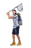Uomo con grande rete di cattura Fotografia Stock