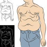 Uomo con grasso addominale illustrazione di stock