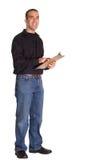 Uomo con i appunti Fotografia Stock