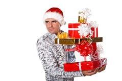 Uomo con i contenitori di regalo Immagine Stock Libera da Diritti