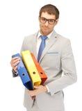 Uomo con i dispositivi di piegatura Fotografia Stock Libera da Diritti