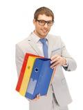 Uomo con i dispositivi di piegatura Fotografie Stock Libere da Diritti