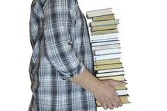 Uomo con i libri immagine stock