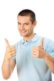 Uomo con i pollici in su Immagine Stock Libera da Diritti