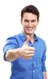 Uomo con i pollici su Fotografie Stock