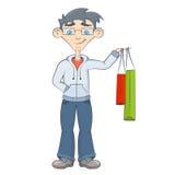 Uomo con i sacchetti di acquisto L'adolescente tiene gli acquisti Fotografie Stock