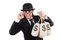 Uomo con i sacchi di soldi isolati Fotografia Stock Libera da Diritti