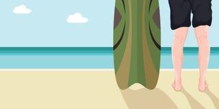 Uomo con i surf sulla spiaggia Belle spiagge e cielo luminoso illustrazione di stock
