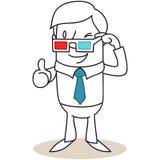 Uomo con i vetri 3D che danno i pollici su illustrazione di stock