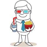 Uomo con i vetri 3D ed il popcorn Fotografie Stock