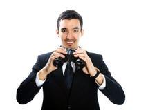 Uomo con il binocolo Fotografia Stock Libera da Diritti