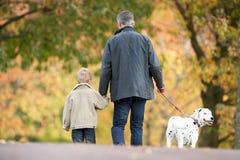 Uomo con il cane ambulante del giovane figlio attraverso la sosta Immagini Stock