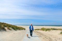Uomo con il cane in spiaggia del paesaggio fotografia stock