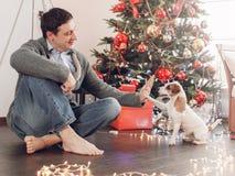 Uomo con il cane vicino all'albero di Natale immagine stock libera da diritti