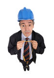 Uomo con il cappello duro e nastro adesivo Immagine Stock