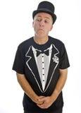 Uomo con il cappello nero isolato su bianco Fotografia Stock Libera da Diritti