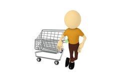 Uomo con il carrello di acquisto Fotografia Stock Libera da Diritti