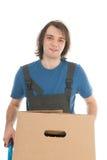 Uomo con il carrello a mano Fotografia Stock