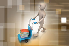Uomo con il carrello per la consegna dei libri Immagini Stock