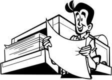 Uomo con il clipart di vettore del fumetto dello stampatore Fotografie Stock Libere da Diritti