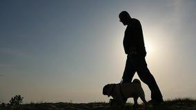 Uomo con il colpo di camminata del carrello della siluetta del cane archivi video