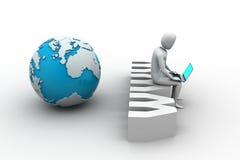 Uomo con il computer portatile che si siede sull'etichetta di WWW Royalty Illustrazione gratis