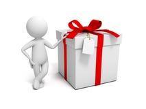 Uomo con il contenitore di regalo Immagine Stock