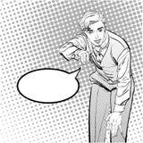Uomo con il dito che indica o che gesturing Uomo che prova a spiegare qualcosa Uomo che prova i fatti Uomo che spiega qualcosa Immagini Stock