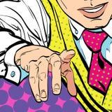 Uomo con il dito che indica o che gesturing Uomo che prova a spiegare qualcosa Uomo che prova i fatti Uomo che spiega qualcosa Immagine Stock