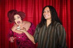 Uomo con il drag queen affamato Immagini Stock