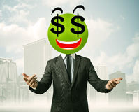 Uomo con il fronte di smiley del simbolo di dollaro Fotografia Stock Libera da Diritti