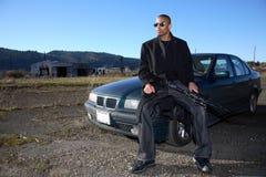 Uomo con il fucile di assalto Fotografia Stock