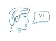 Uomo con il fumetto di dialogo, discussione, concetto di domande e risposte Immagine Stock