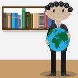 Uomo con il globo Immagine Stock