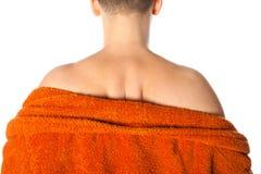 Uomo con il mal di schiena in bagno Immagine Stock Libera da Diritti