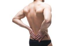 Uomo con il mal di schiena Dolore nel corpo umano Ente maschio muscolare Isolato su priorità bassa bianca Immagine Stock Libera da Diritti
