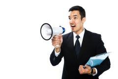 Uomo con il megafono Immagini Stock