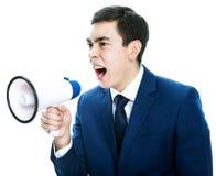 Uomo con il megafono Fotografie Stock