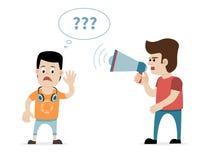Uomo con il megafono ed il ragazzo sordo Concetto per perdita dell'udito Fotografie Stock Libere da Diritti