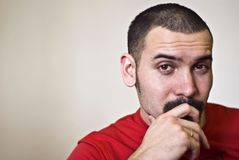 Uomo con il moustache Fotografia Stock Libera da Diritti